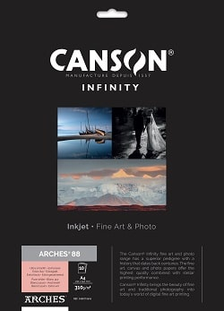 Canson Infinity Arches 88 Inkjet Paper A4 310gsm 400110696 - Pack 10 Sheets