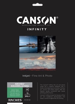Canson Infinity Arches Aquarelle Rag Inkjet Paper A4 310gsm 400110653 - Pack 10 Sheets