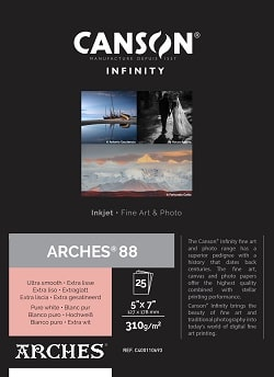 Canson Infinity Arches 88 Inkjet Paper 5x7in (127x178mm) 310gsm 400110693 - Pack 25 Sheets