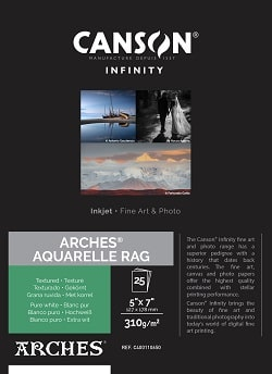 Canson Infinity Arches Aquarelle Rag Inkjet Paper 5x7in (127x178mm) 310gsm 400110650 - Pack 25 Sheets
