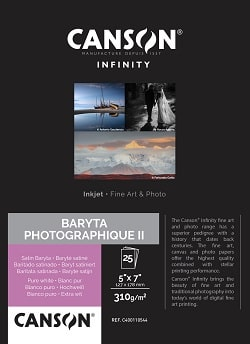 Canson Infinity Baryta Photographique II Inkjet Paper 5x7in (127x178mm) 310gsm 400110544 - Pack 25 Sheets