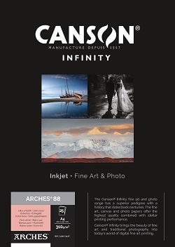 Canson Infinity Arches 88 Inkjet Paper A4 310gsm 400110697 - Pack 25 Sheets