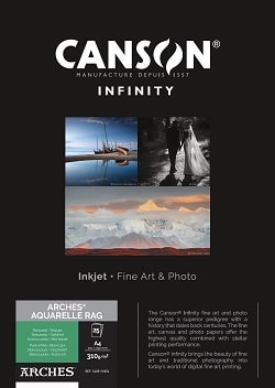Canson Infinity Arches Aquarelle Rag Inkjet Paper A4 310gsm 400110654 - Pack 25 Sheets