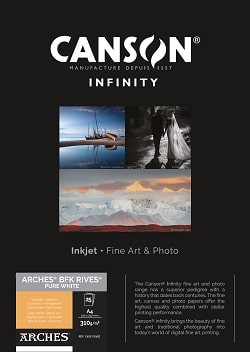 Canson Infinity Arches BFK Rives Pure White Inkjet Paper A4 310gsm 400110682 - Pack 25 Sheets