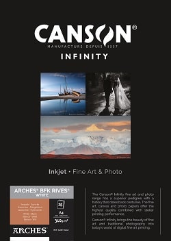 Canson Infinity Arches BFK Rives White Inkjet Paper A4 310gsm 400110668 - Pack 25 Sheets