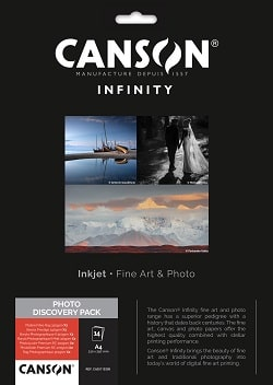 Canson Infinity A4 Fine Art Photo Discovery Pack 400110300 - Pack 14 Sheets