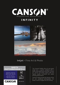 Canson Infinity Baryta Matt Photographique II Inkjet Paper 5x7in (127x178mm) 310gsm 400110490 - Pack 25 Sheets
