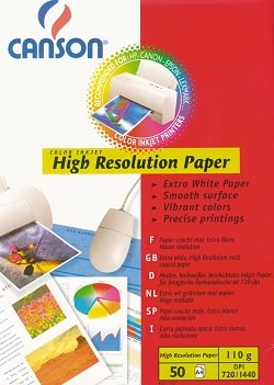 Canson High Resolution Inkjet Paper A4 100gsm 204567420 - Pack 50 Sheets