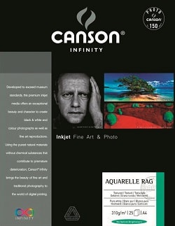 Canson Infinity Aquarelle Rag Inkjet Paper A3+ (330x483mm) 310gsm 206121018 - Pack 25 Sheets