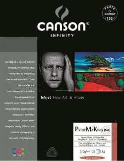 Canson Infinity PrintMaKing Rag Inkjet Paper A3+ (330x483mm) 310gsm 206111008 - Pack 25 Sheets