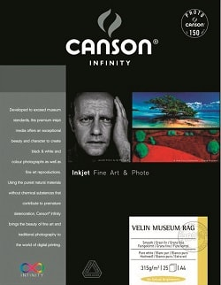 Canson Infinity Velin Museum Rag Inkjet Paper A3+ (330x483mm) 315gsm 206111020 - Pack 25 Sheets