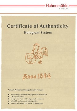 Hahnemuhle Certificate of Authenticity A4 10640397- Pack 25 Sheets