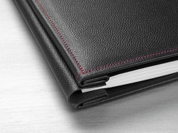 Hahnemuhle Leather Photo Album Cover Black with Red Stitching 12x12in (305x305mm) 10640745 - Each