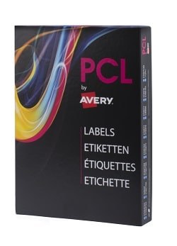 PCL Labels (PCL6233GW) High Gloss White Permanent 62x33mm 24 labels per A4 sheet - Box 4800 labels
