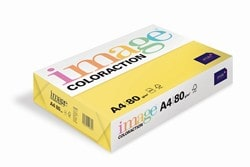 Image Coloraction Coloured Paper Deep Yellow (Canary) A4 80gsm - Box 5 Reams