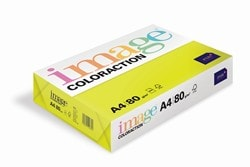 Image Coloraction Coloured Paper Neon Yellow (Ibiza) A4 80gsm - Box 5 Reams