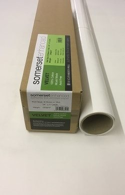 Somerset Enhanced Velvet Inkjet Paper (60in roll) 1524mm x 10m 255gsm - Each Roll