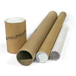 Postal Tubes and End Caps To fit A2, 50mm diameter, 450mm length / 1.5mm wall - Pack 25